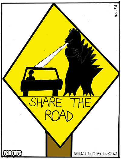 Share the road sign - Godzilla breathing an electroray on a car