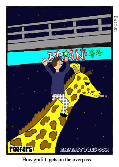 Cartoon of a guy riding a giraffe to spray paint grafitti on the overpass.