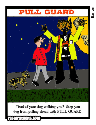 A cartoon about how to stop your dog from pulling ahead