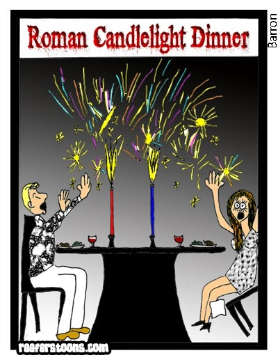 A cartoon about a roman candle dinner
