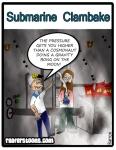 A cartoon about a marijuana clambake inside of a submarine