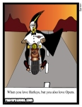Cartoon about wheny you love Harleys but you also love opera