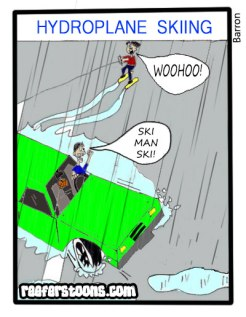 Cartoon of a man water skiing behind a hydroplaining car