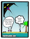 A cartoon about a kite eating another kite