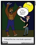 A cartoon about Pothead Pete's encounter wtih the wolfman