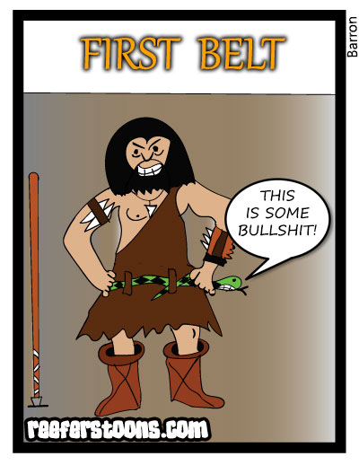 Cartoon about the invention of the belt