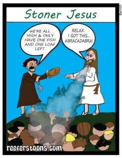 A cartoon about stoner Jesus with fishes and loaves